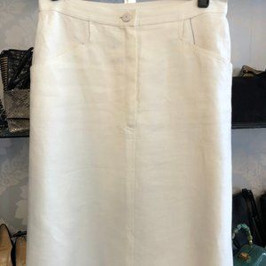 CHANEL Cream 100% Linen A-Line Mid Length Skirt